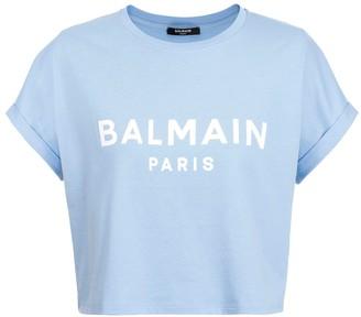 Balmain Glacier Blue Cropped Logo T-shirt