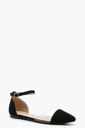 boohoo Clear Two Part Pointed Flats