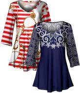 Lily Women's Tunics RED - Red & Navy Stripe Nautical Status & Floral V-Neck Tunic Set - Women & Plus