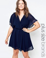 Club L Plus Skater Dress With Lace Sleeve Detail