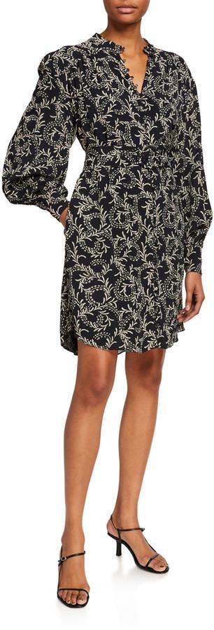 Joie Brooklyn Leaf Print Puff-Sleeve Shirtdress