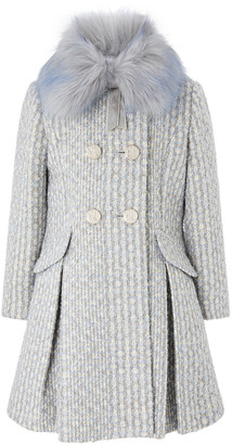 Monsoon Sparkle Tweed Skirted Coat Blue