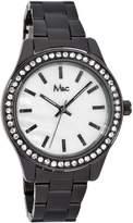 MC M&c Women's | Gunmetal Bracelet & Rhinestone Accented Bezel | FC0389