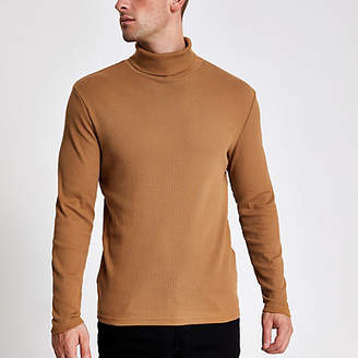 River Island Brown ribbed roll neck long sleeve T-shirt