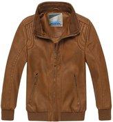 XiaoYouYu Little Boy's Patchwork Windproof Waterproof Zip Leather Coats US Size 3T