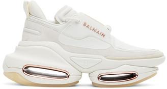 Balmain White B Bold Suede Sneakers