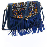 Angedanlia Women's Crossbodies BLUE - Blue Geometric-Accent Fringe Tassel Crossbody Bag