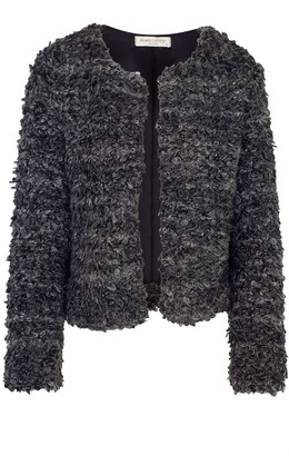 Haris Cotton Wool Blend Cropped Jacket Anthracite