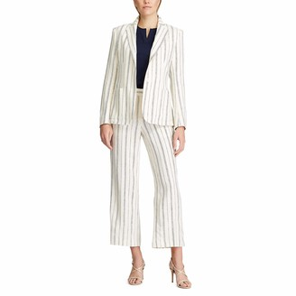 Chaps Women's Striped Soft Linen Blend Refined Wear Blazer