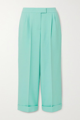 RALPH & RUSSO Cropped Pleated Cotton-blend Crepe Wide-leg Pants - Mint