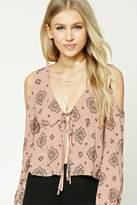 Forever 21 Open-Shoulder Ornate Top