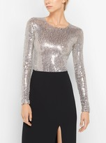 Michael Kors Sequin-Embroidered Stretch-Tulle Bodysuit