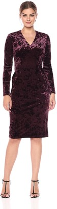 Maggy London Women's Crushed Velvet Long Sleeve Mid Length Sheath