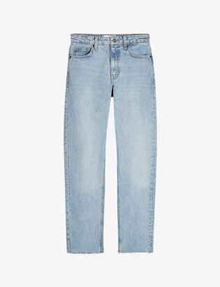 Topshop Raw-hem straight high-rise jeans
