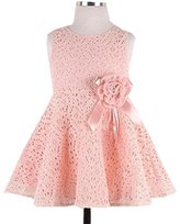 Girl Dress,Haoricu Fall Winter Kids Child Lace Floral Sleeveless Baby Girls Dress Princess Party Dress (Size 130, Pink)