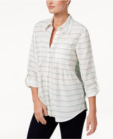 Style&Co. Style & Co Mixed-Print Roll-Tab Shirt, Only at Macy's