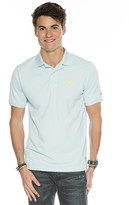 Peace Love World Happy Face Hazy Blue Polo Tee