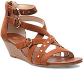 Isola Petra Suede Leather Banded Buckle Ankle Strap Wedge Sandals