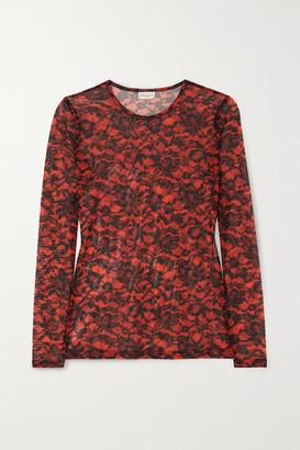 Dries Van Noten Hostoni Floral-print Stretch-mesh Top - Red