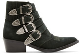 Toga Pulla Green Suede Four-buckle Western Boots
