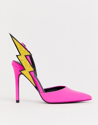 Asos DESIGN Pick up lightening bolt sling back high heels in neon pink