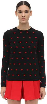 RED Valentino Heart Cashmere Blend Intarsia Sweater