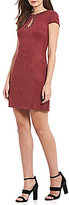 Vince Camuto Faux Suede Beaded Cap Sleeve Shift Dress