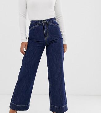 Vero Moda Petite high waisted wide leg jean-Blue