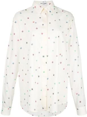 Saint Laurent Star-Print Classic Collar Shirt