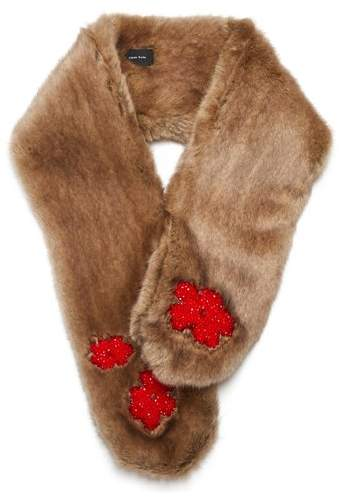 Simone Rocha Bead-embellished faux-fur scarf