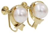 Mikimoto 750 Yellow Gold Pearl Ribbon Motif Earrings