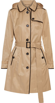 DKNY Faux Leather-trimmed Cotton-blend Twill Hooded Trench Coat