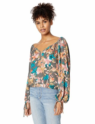 O'Neill Women's Ellysa Printed Woven with Tie Sleeves Blouse