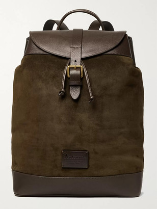 Andersons Textured Leather-Trimmed Suede Backpack