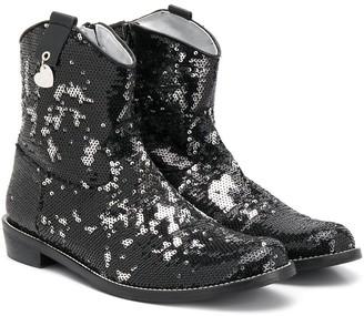 MonnaLisa Sequin-Embellished Ankle Boots