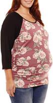 PLANET MOTHERHOOD Planet Motherhood 3/4 Sleeve Scoop Neck T-Shirt-Plus