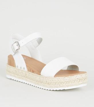 New Look Girls Espadrille Stud Trim Flatform Sandals