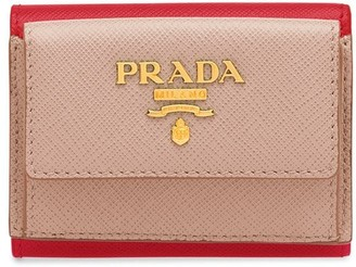 Prada logo-lettering Saffiano leather wallet