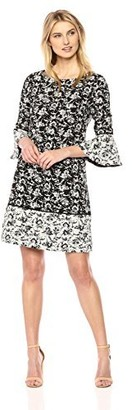 Jessica Howard Women's Printed Bell Sleeve Dress