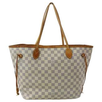 Louis Vuitton Neverfull White Suede Handbags