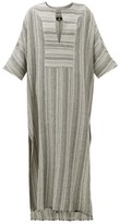 Su Paris - Lia Striped Cotton Kaftan - Womens - Grey Stripe