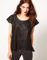 Just Female Leather T Shirt