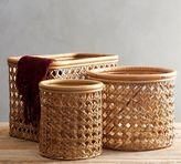 Pottery Barn Abel Open Weave Rattan Baskets