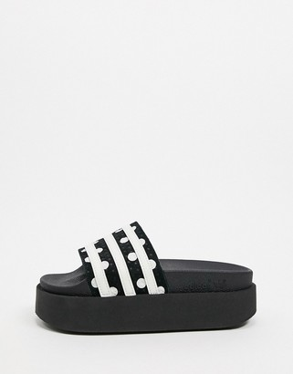 adidas adilette platform sliders in black
