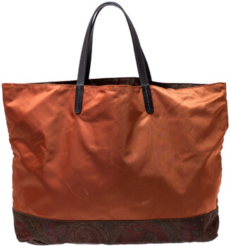 Etro Orange Paisley Nylon Reversible Shopper Tote
