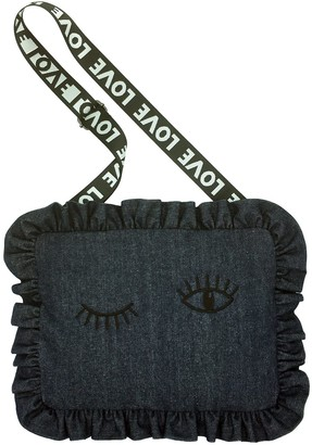Stranger Than Them Flirt Winking Denim Cushion Bag With Love Strap