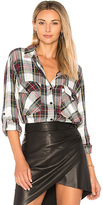 Sanctuary Boyfriend Plaid Button Up in White. - size L (also in M,S,XS)