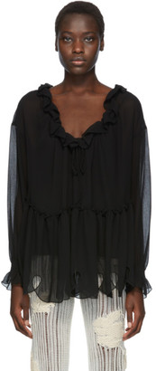 See by Chloe Black Ruffle Blouse