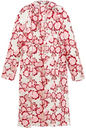 Simone Rocha 4 Moncler Floral-embroidered Pvc Raincoat - Womens - Pink