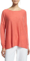 Eileen Fisher Long-Sleeve Featherweight Cashmere Box Top, Flora, Plus Size